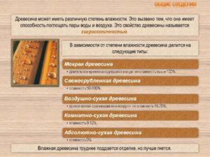 Влажность различных видов древесины