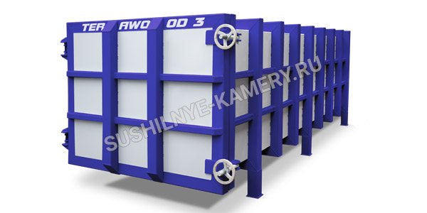 Пресс вакуумная сушильная камера для древесины Terawood объемом 3 куб. для пиломатериала длинной 4 метра
